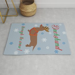 Dachshund through the snow - reindeer Rug
