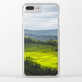 Sun shining on field of terraces Clear iPhone Case