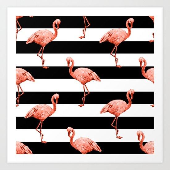 Simply Flamingo Deep Coral on Midnight Black Stripes Art Print