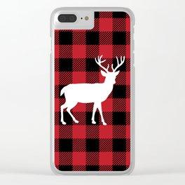 Buffalo Plaid - Deer Clear iPhone Case