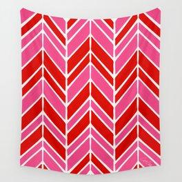 Intermittent Herringbone – Red & Pink Wall Tapestry