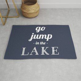 Go jump in the lake in Navy blue Rug