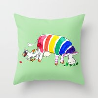 cows Throw Pillows featuring Cows by Hattie Hyder