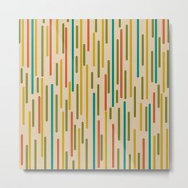 Mid Century Mod Line Dance Pattern in Orange, Teal, Mustard, Olive, and Beige Metal Print