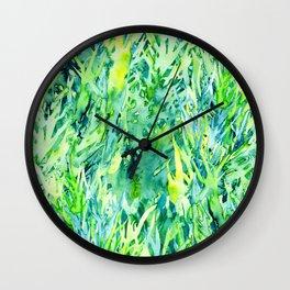 Jungle green watercolor Wall Clock