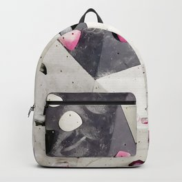 Geometric abstract free climbing gym wall boulders pink white Backpack