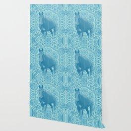 horse and wattle mandala in blue Wallpaper