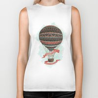 baloon Biker Tanks featuring have love, will travel by Laura Graves