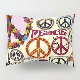 Flower Power Peace Signs Coctail Pillow Sham