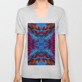 Blue and Magenta Light Refraction Patterns Unisex V-Neck