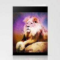 the lion king Stationery Cards featuring King Lion by GrOoVy Photo Art