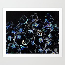 FLOWERS AT MIDNIGHT Art Print