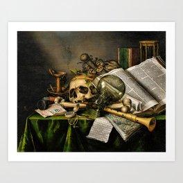 Vintage Vanitas- Still Life with Skull Art Print