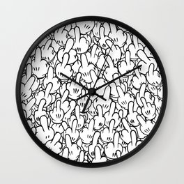 Middle fingers of Mickey Mouse Wall Clock