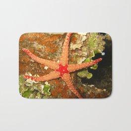 Orange Starfish  Bath Mat