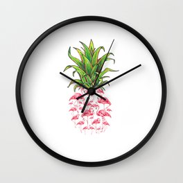 cute and lovely pink flamingo pineapple love gift Wall Clock