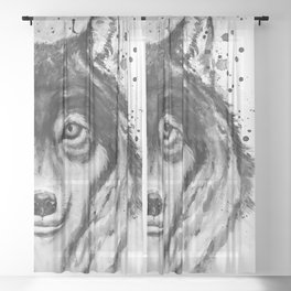 Half-Faced Wolf Close-up Sheer Curtain