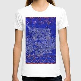 N20 - Tribal Cute Cat Hand Drawing, Traditonal Moroccan Carpet Background T-shirt