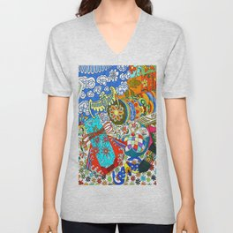 Korean traditional hand embroidery Unisex V-Neck