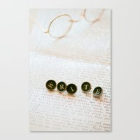 write Canvas Prints featuring Write by Colleen Farrell
