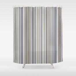 Blue grey Tan Stripes Shower Curtain