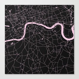 London Black on Pink Street Map Canvas Print
