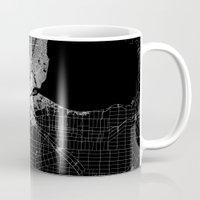detroit Mugs featuring Detroit map  by Line Line Lines