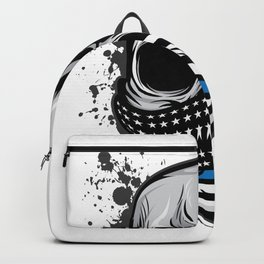 Here's A Unique Design Of A Braincase Skull With An American Flag Scarf On T-shirt Design Gray Tones Backpack
