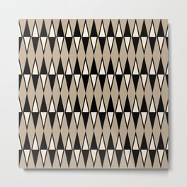 Mid Century Modern Diamond Pattern Black and Beige 234 Metal Print