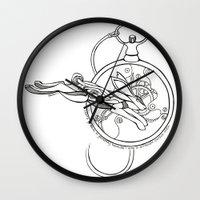 alice in wonderland Wall Clocks featuring Wonderland by Stephanie Hillman Design