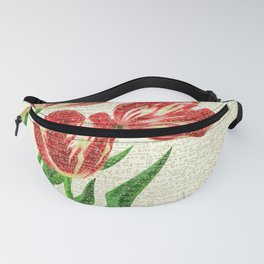 Red Tulips Calligraphy Fanny Pack
