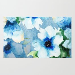 Watercolor Flower Garden Rug