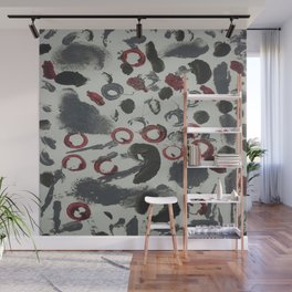 Moody Grey and Red Abstract Art Wall Mural