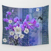 hummingbird Wall Tapestries featuring Hummingbird by Sabah