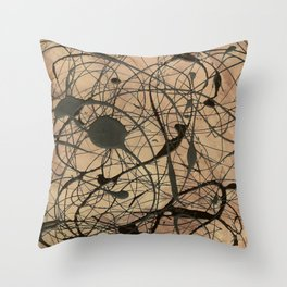 Pollock Inspired Abstract Black On Beige Corbin Art Contemporary Neutral Colors Throw Pillow