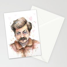 Ron Swanson Love Valentine Portrait Stationery Cards