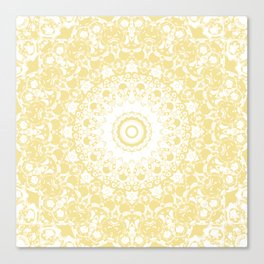 White Lace Mandala on Sunshine Yellow Background Canvas Print