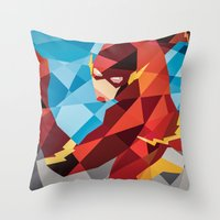dc comics Throw Pillows featuring DC Comics Flash by Eric Dufresne