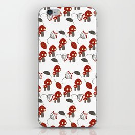 Red Mushrooms Woodland Whimisical iPhone Skin