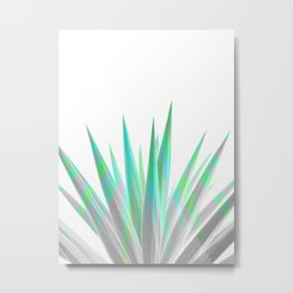 Tropical Allure - Green & Grey on White Metal Print