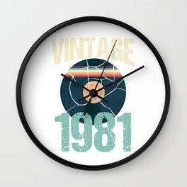 Retro Vintage 1981 39 th Birthday Record Vinyl Vintage Disco Bday Gift Wall Clock