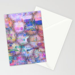 Abstract Anenome Pattern in Purple Pastel Stationery Cards