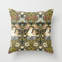 Whippets and Strawberry Thieves Throw Pillow