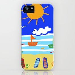 Naive Beach - Blue & Gold  iPhone Case
