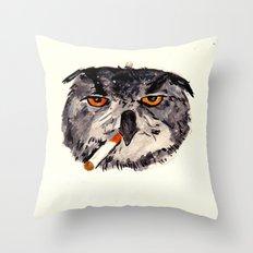 art student owl watercolour Throw Pillow