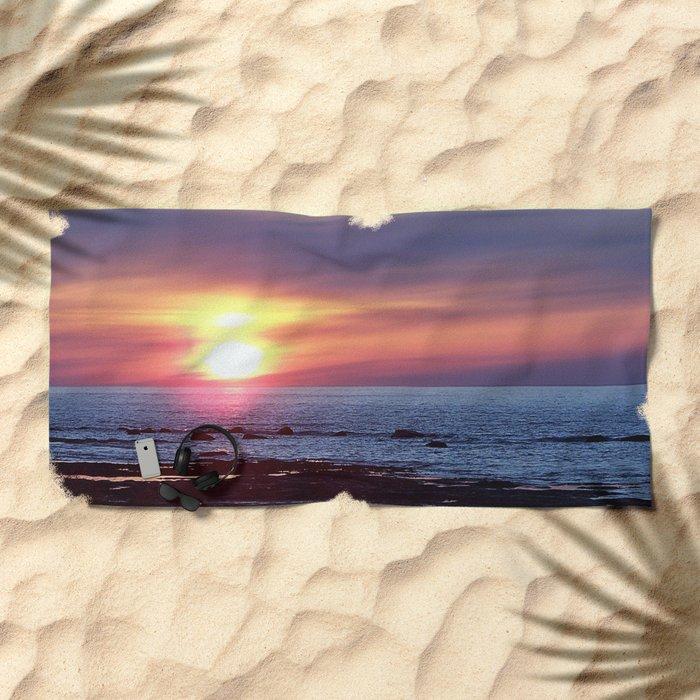 Double Sun Sunset Beach Towel