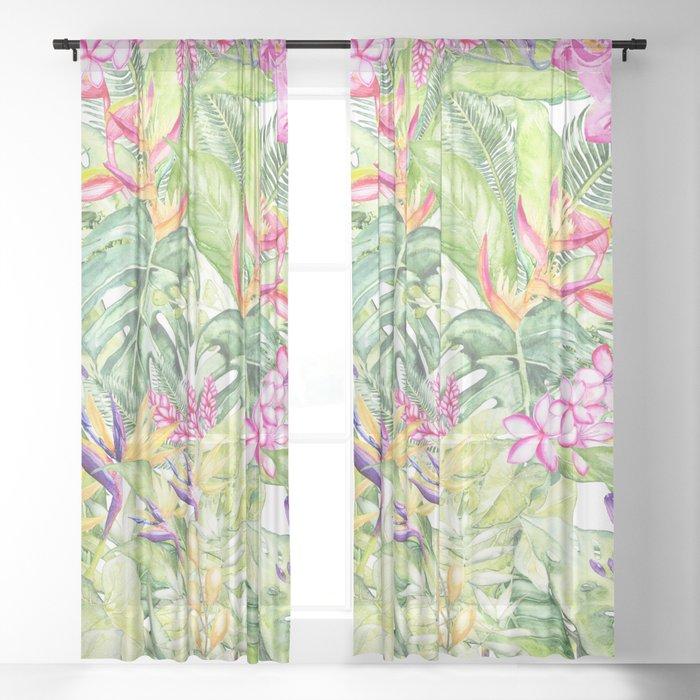 Tropical Garden 1A #society6 Sheer Curtain