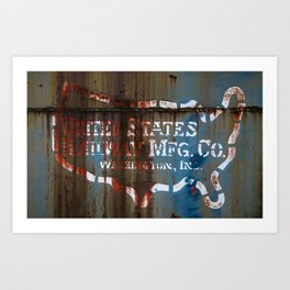 Abandoned Trains US Railways Map with Rust Art Print