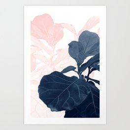 Blush Blue Fiddle Leaf Dream #1 #tropical #decor #art #society6 Art Print