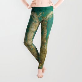 Gold and Peacock Chandelier Leggings